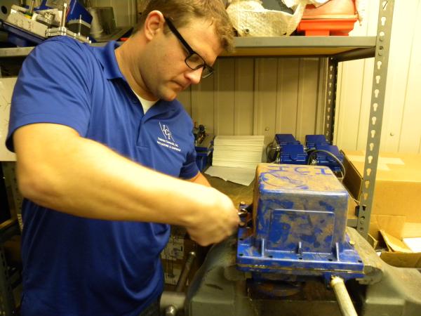 Matt Robinson, Indelac Controls, removing the cover of our NEMA 6P Actuator
