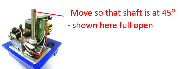 move motor  valve to 45⁰   midway position between open and close
