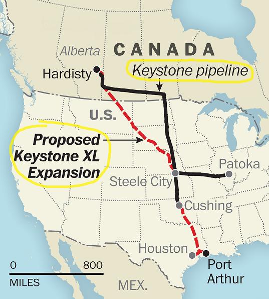 Keystone and Keystone XL Pipelines Map